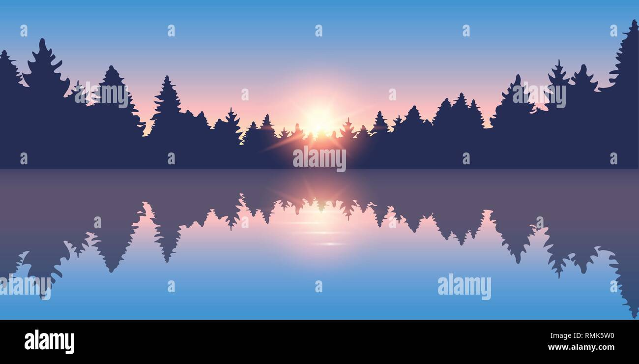 beautiful lake at sunrise pine forest nature landscape vector illustration EPS10 - Stock Vector