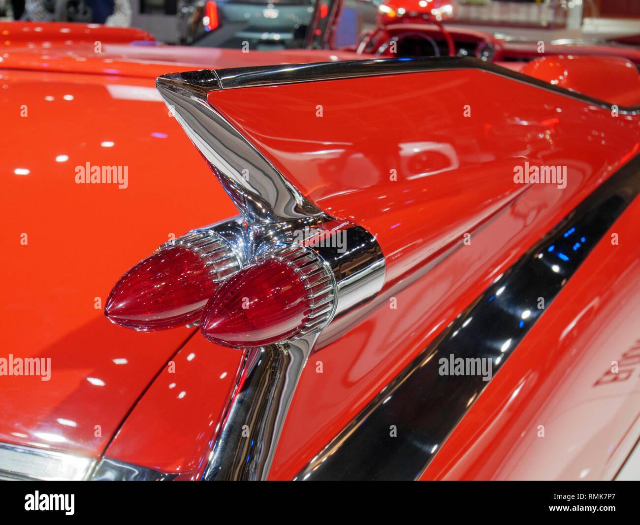 1959 Cadillac Eldorado Biarritz Convertible tail fin and tail lights. 2019 Chicago Auto Show. Stock Photo