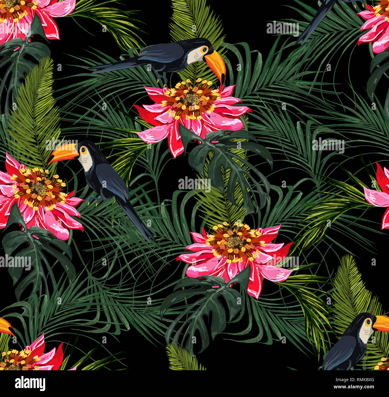 Beautiful Seamless Vector Floral Summer Pattern Background With