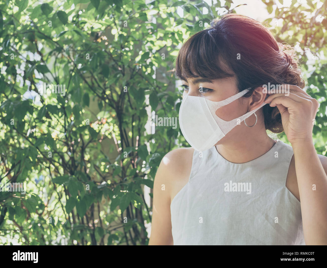 Wearing Mask White Asian On Protective Woman Beautiful Dust N95