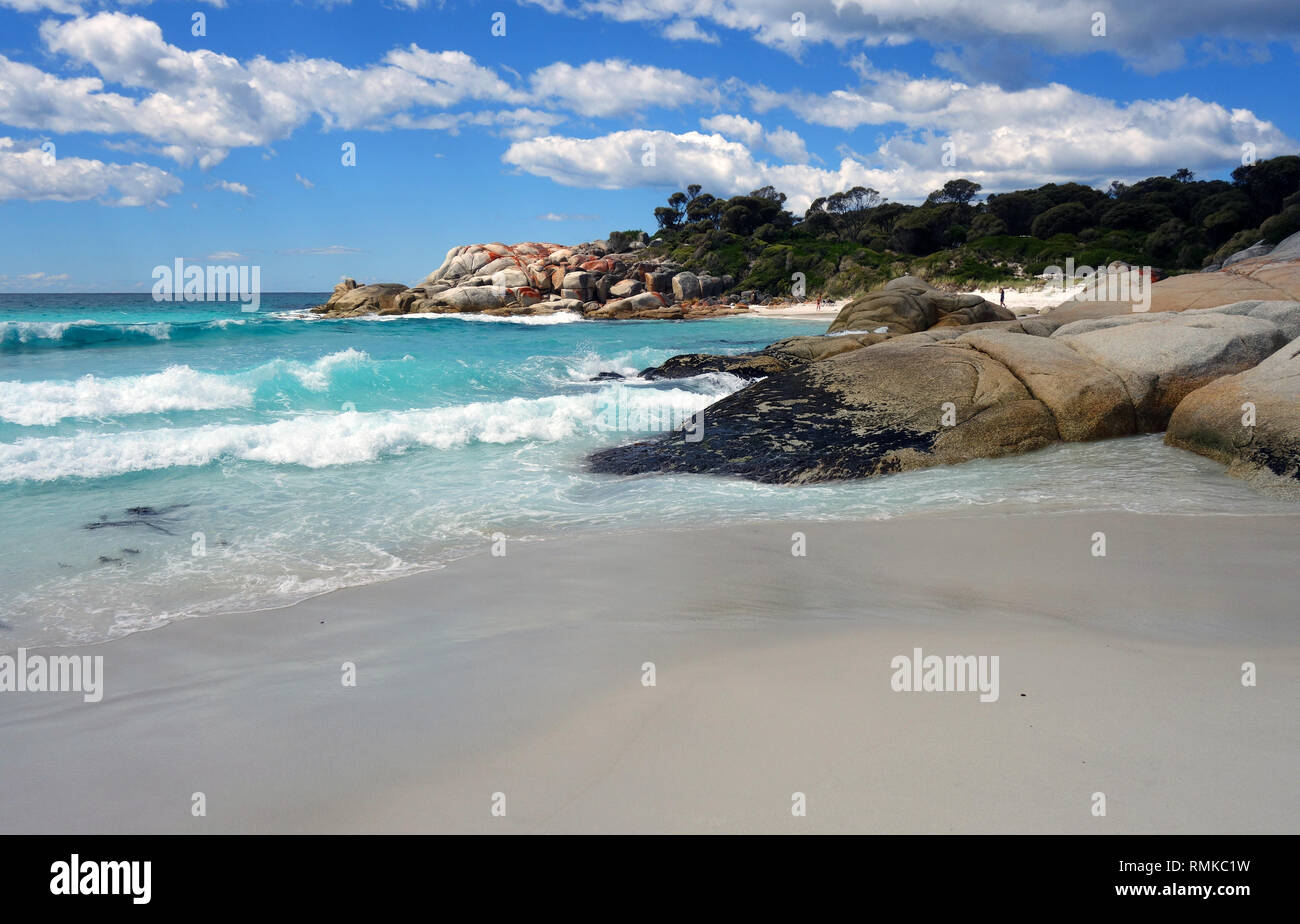 Southern end of Taylor's Beach, Bay of Fires, Tasmania, Australia - Stock Image