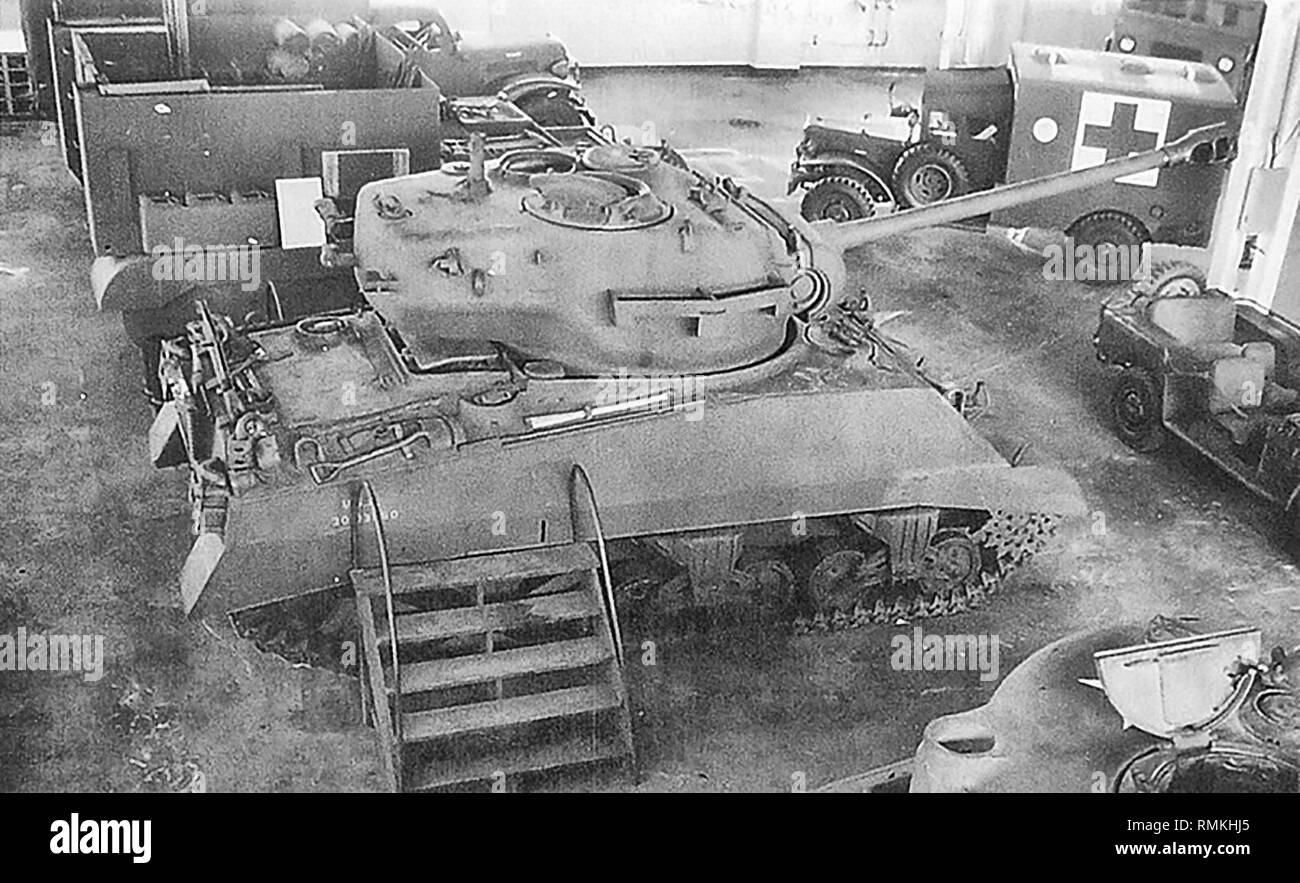 The single prototype tank built by Chrysler in the summer of 1944 that had a 90mm gun T26 turret mounted on an M4A3 chassis. The T26 and M4 tanks had the same turret ring. The project was canceled by the Ordnance Dept. after it became apparent that this tank still needed to be tested, would not likely arrive in the combat theater any sooner than the T26 tank, and would most likely interfere with the T26 production effort. - Stock Image