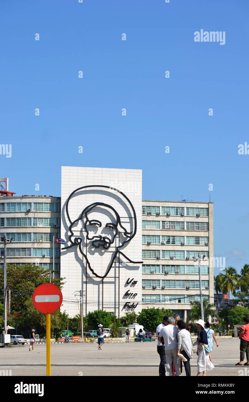 Havana Cuba - Fidel Castro portrait on the wall of the Postal and Numismatic Museum building in the Revolution Square - Stock Image