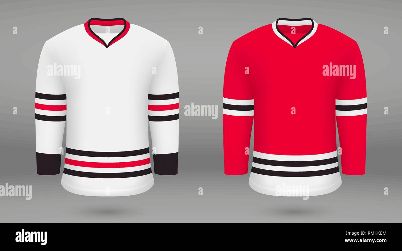 purchase cheap 95872 a49d4 Realistic hockey kit, shirt template for ice hockey jersey ...