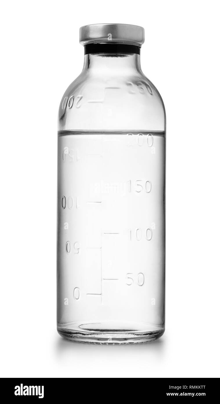 Glass bottle of medical saline solution isolated on white - Stock Image