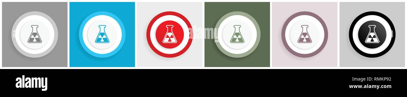 Radiation icon set, flask sign vector illustrations in 6 colors options for web design and mobile applications in eps 10 - Stock Vector