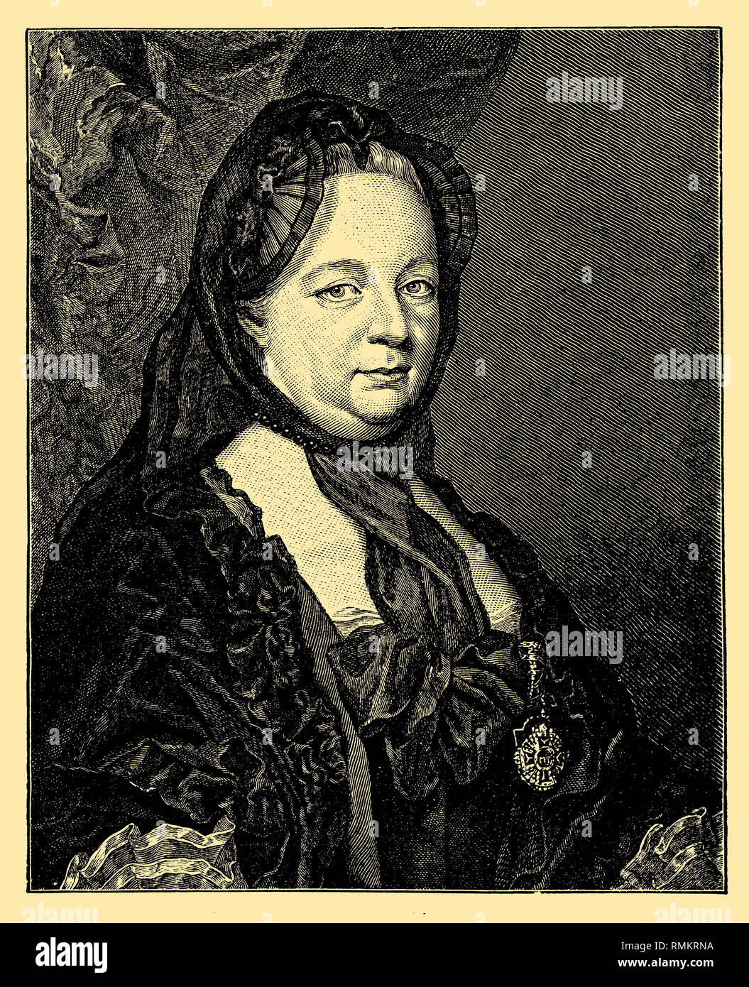 Maria Theresa of Austria  Princess of the House of Habsburg, Queen of Hungary and Bohemia and Archduchess of Austria, in widow's grief. Portrait from the year 177 ?. Painted by the court painter du Greue, engraved by K. K. Hofkupferstecher Jakob Schmuzer, du Greue und Jakob Schmuzer  1899 - Stock Image