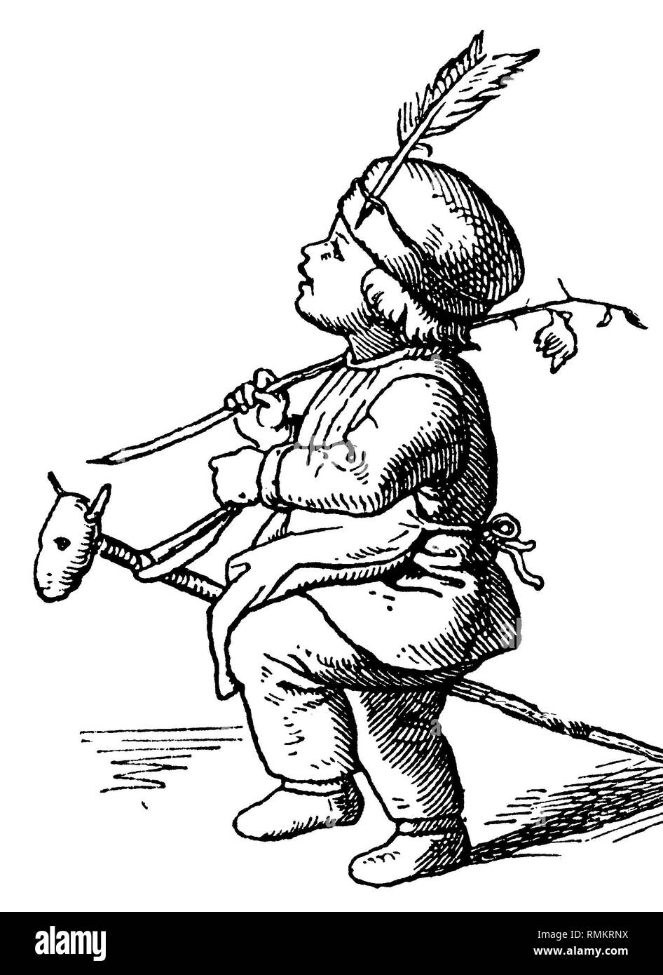 KInd plays Indian with hobbyhorse, Ludwig Richter  1837ff. Stock Photo