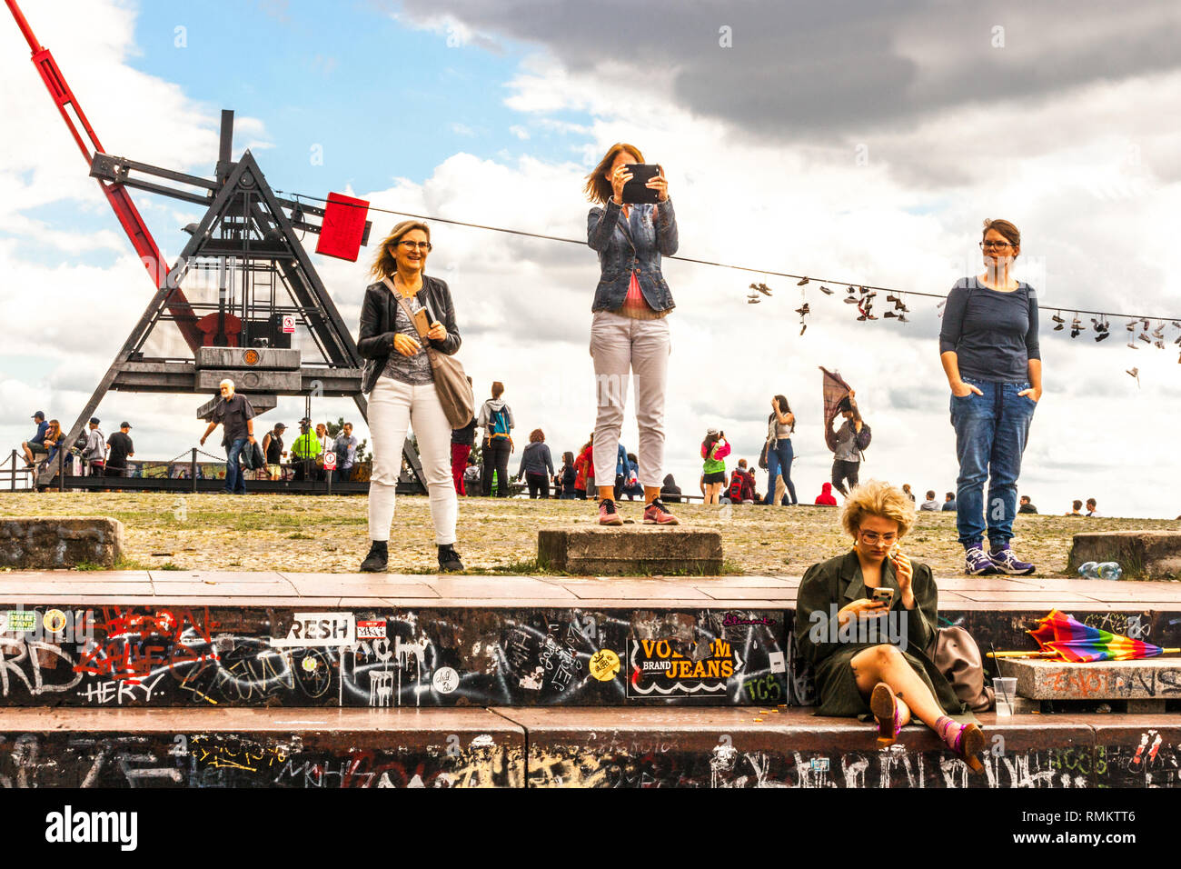 People at Prague Metronome, Prague Letna Park Former Place of Stalin's Monument, Czech Republic - Stock Image