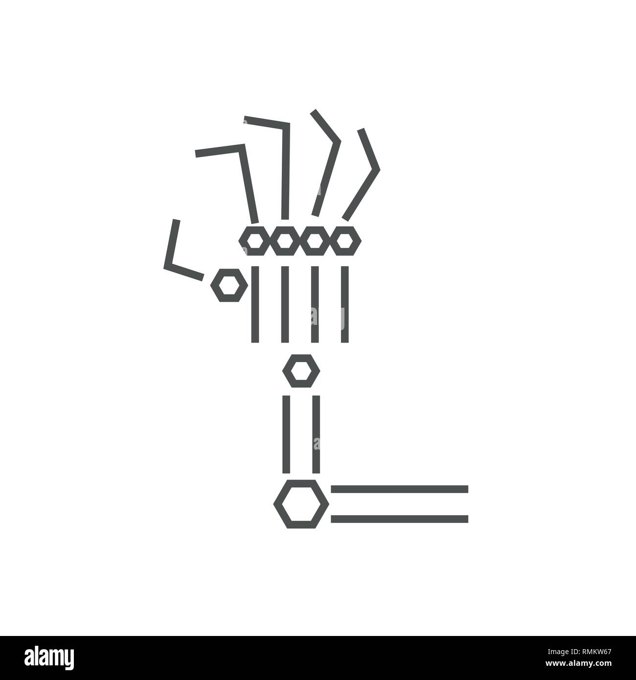Robotic arm line icon on white background. Mechanical hand. Industrial robot manipulator. Modern industrial technology. IoT, Internet Of Things, AI - Stock Image