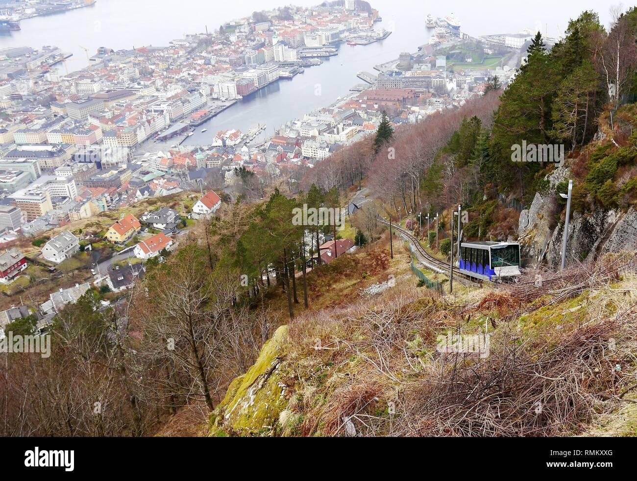 Fløibanen and Bergen from Mount Fløyen, Bergen, Norway - Stock Image