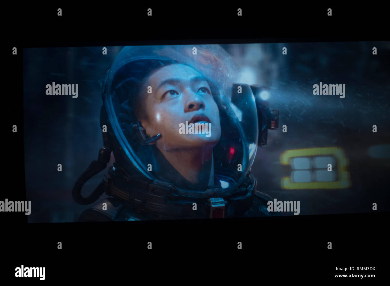 "Scene from ""The Wandering Earth,"" a Chinese sci-fi blockbuster in a theater in Beijing, China. 14-Feb-2019 - Stock Image"
