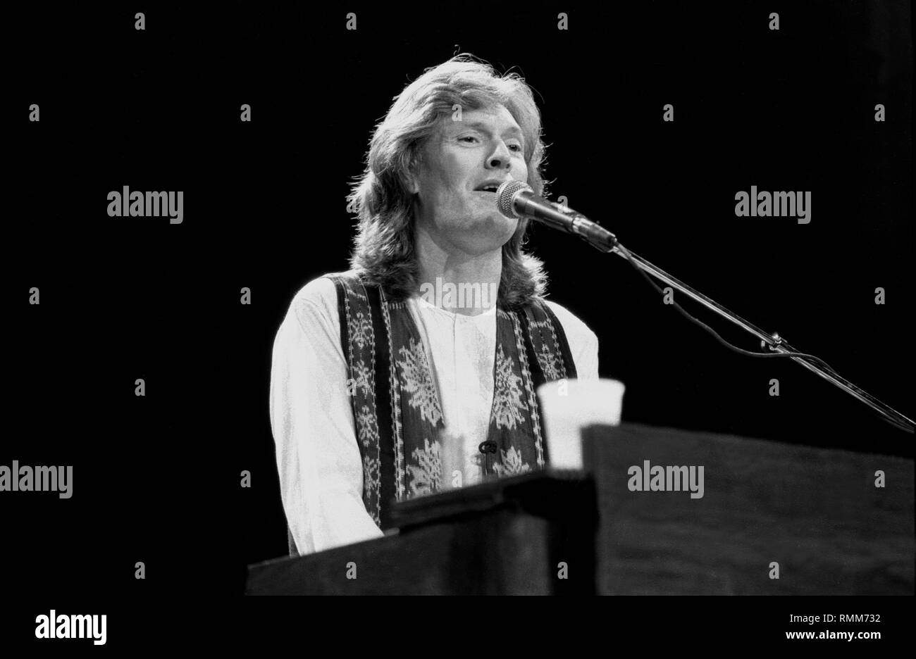 Singer, songwriter and multi-instrumentalist Steve Winwood, formerly of the the Spencer Davis Group, Traffic and Blind Faith, is shown performing on stage during 'live' concert appearance. - Stock Image