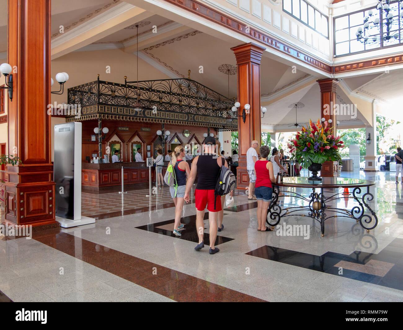 Ocho Rios Jamaica -1 February 2019: Lobby of large Caribbean resort hotel - Stock Image