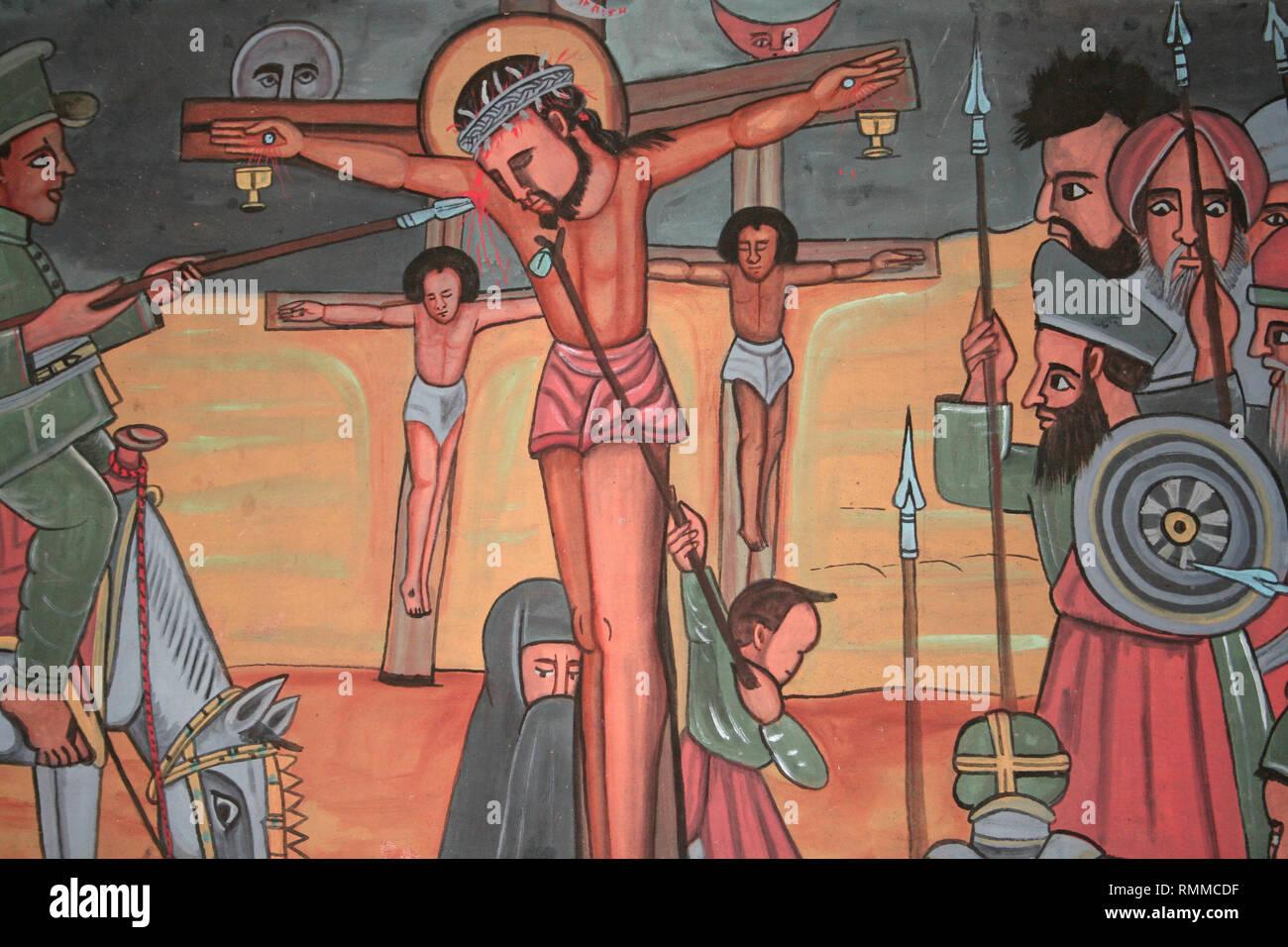 Ethiopia Art - Jesus Crucifixion - Stock Image
