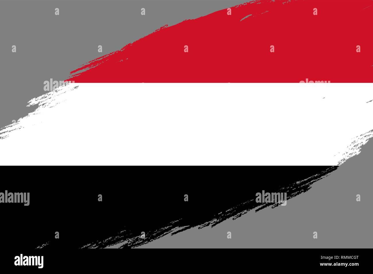 Brush stroke background with Grunge styled flag of Yemen - Stock Vector
