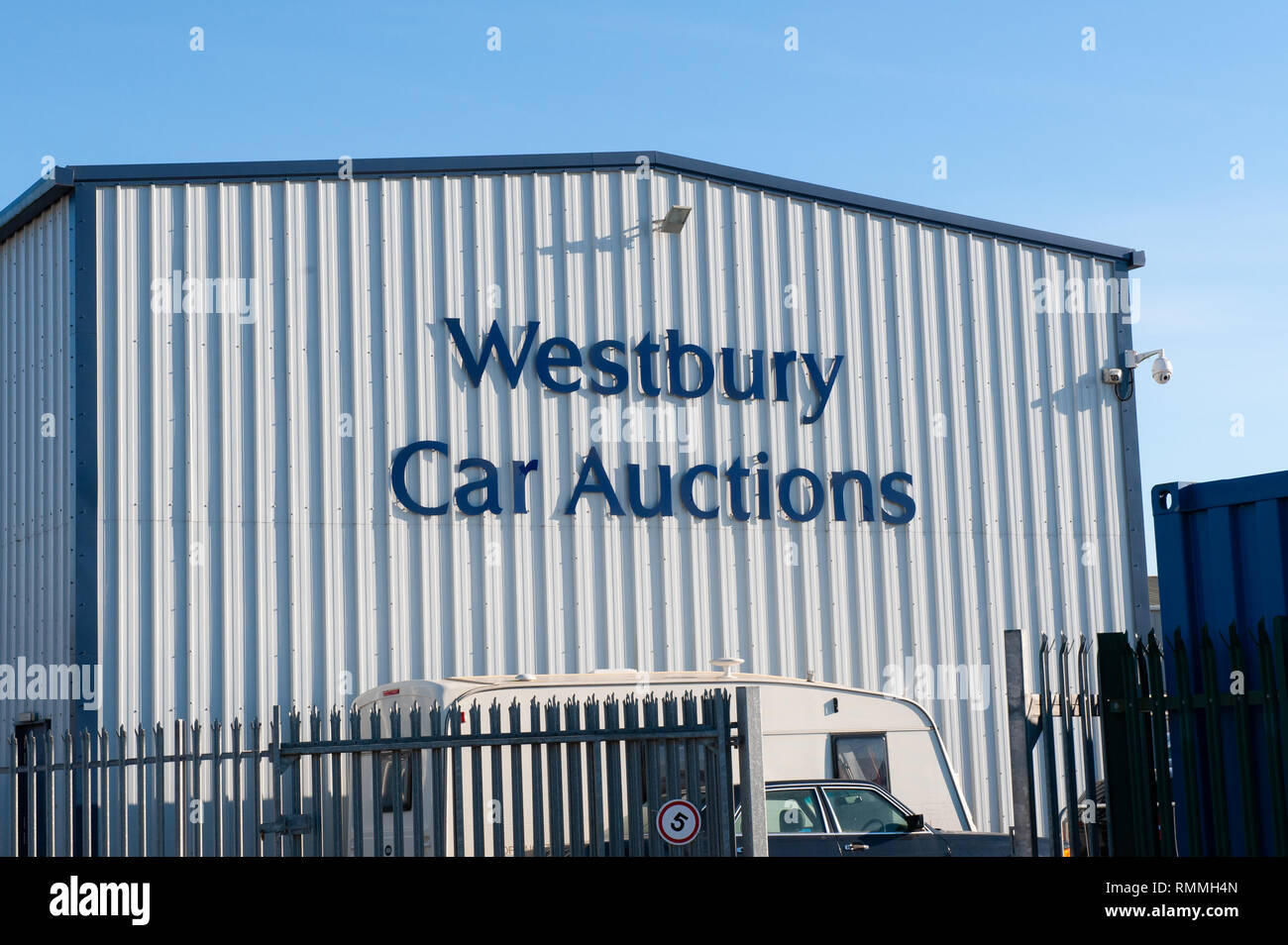 Industrial unit at Westbury Car Auctions, Wiltshire, UK - Stock Image