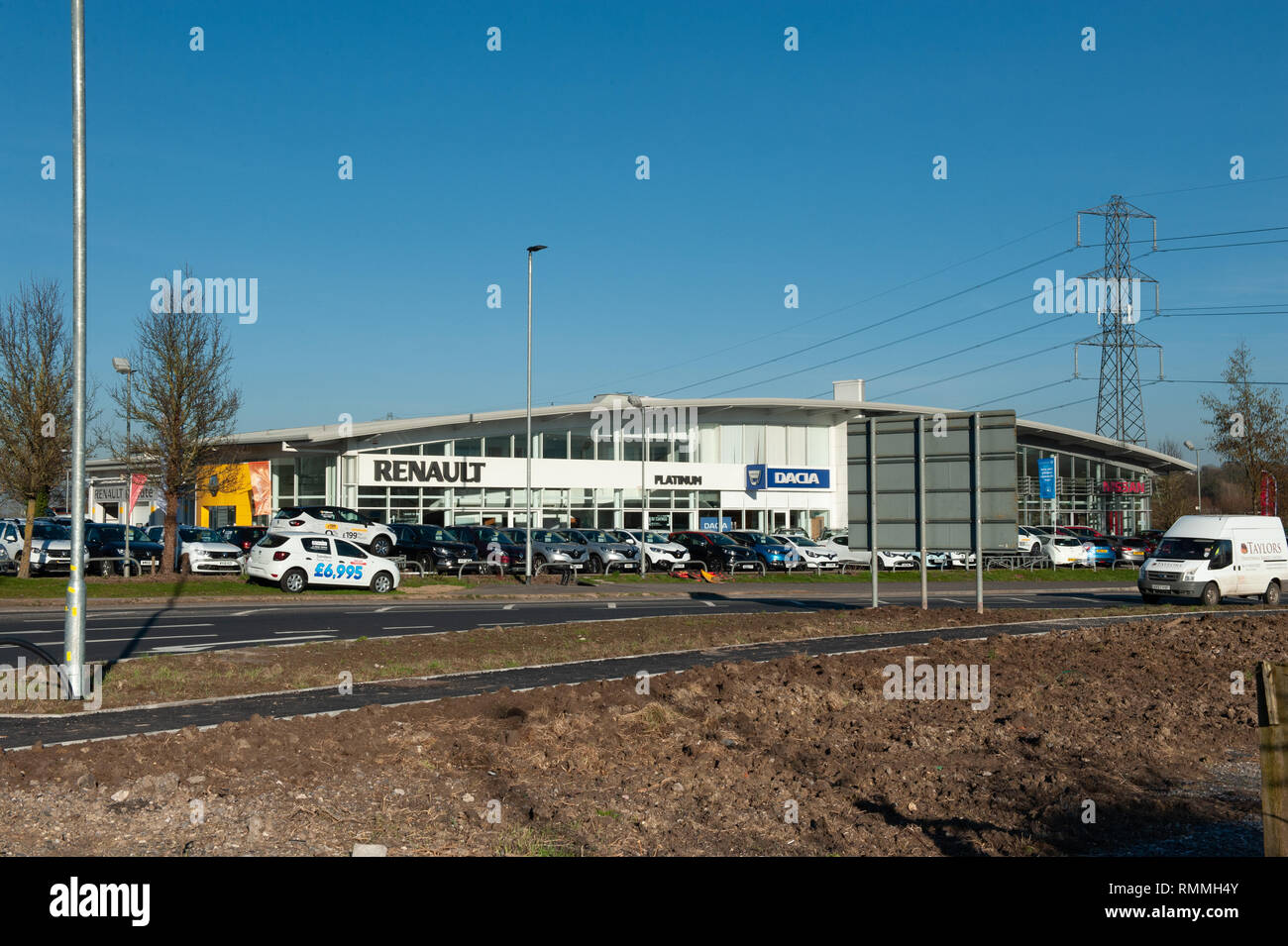 Renault, Dacia and Nissan car showrooms in Trowbridge, Wiltshire, UK. - Stock Image