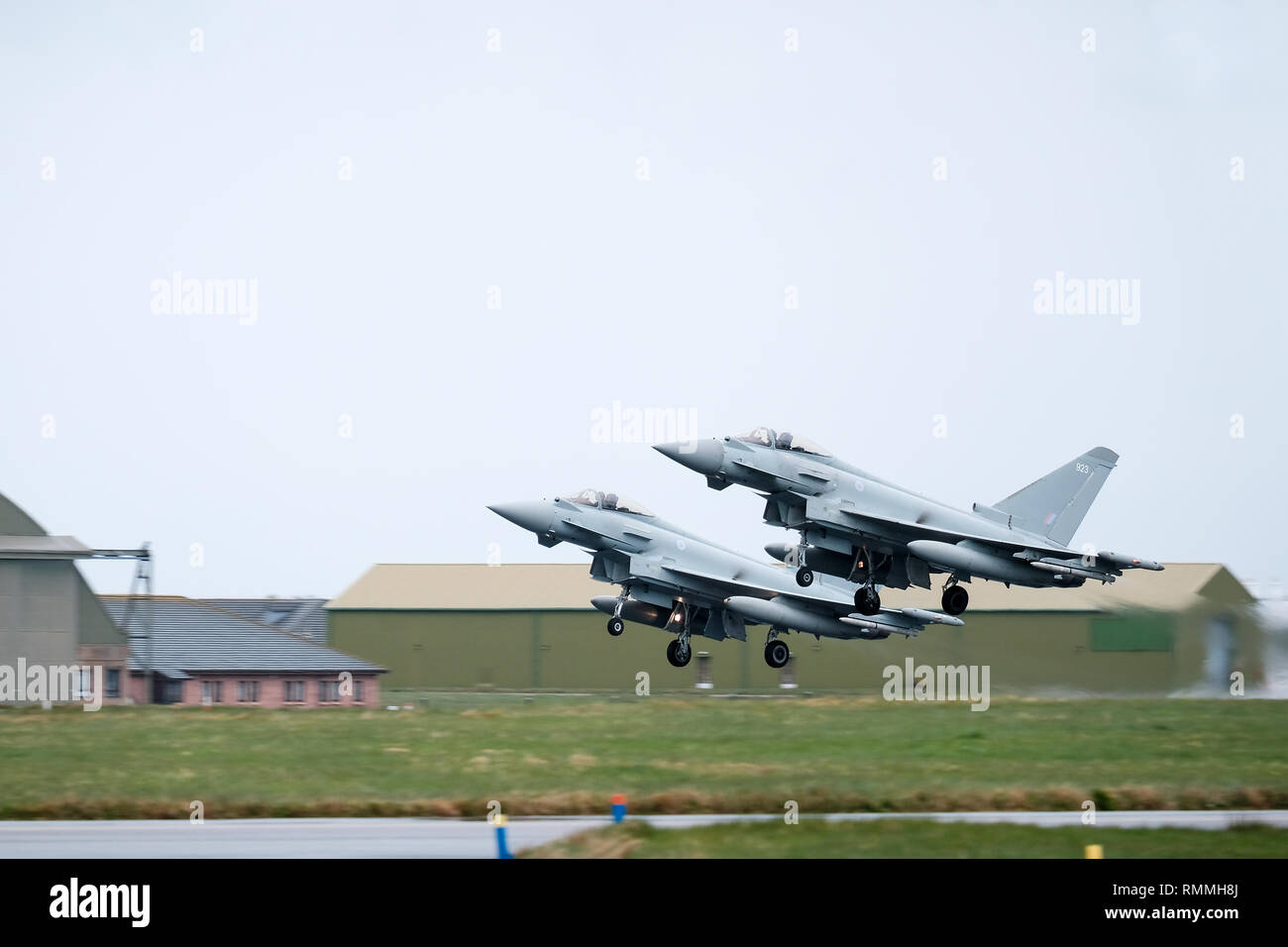 Two RAF Tornado jet fighters taking off in tandem at RAF Lossiemouth base, Moray, Scotland - Stock Image