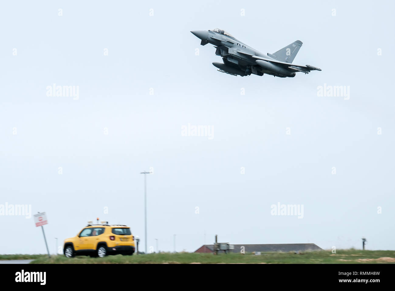 An RAF Tornado jet fighter taking off at RAF Lossiemouth base, Moray, Scotland - Stock Image