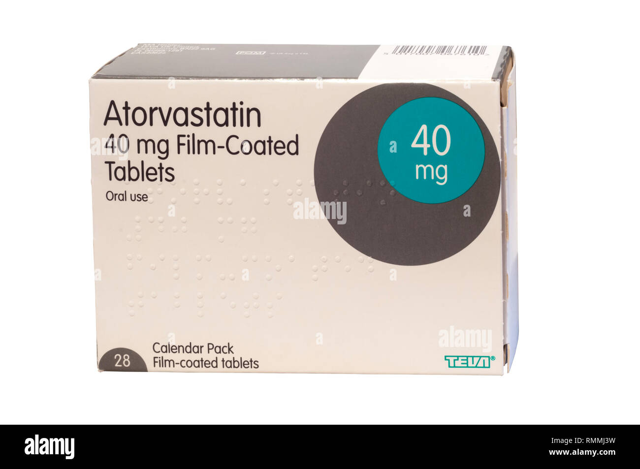 A packet of Atorvastatin tablets, a statin medication used to prevent cardiovascular disease and treat abnormal lipid levels. - Stock Image