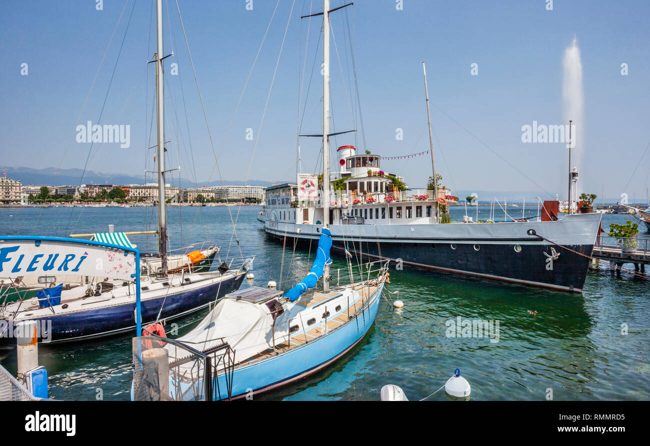 Switzerland, Lake Geneva, view of paddle steamer 'Genève', the oldest paddle ship of Lake Geneva. No longer in active service it is used as a floating - Stock Image