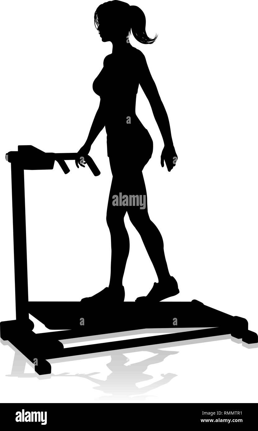 Gym Woman Silhouette Treadmill Running Machine - Stock Image
