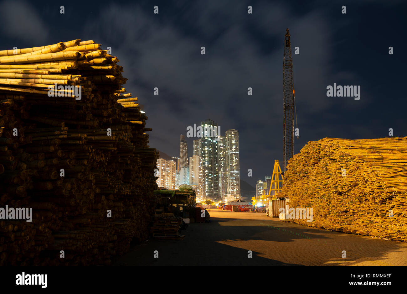 Bamboo used for building scaffolding, Hong Kong, China. - Stock Image