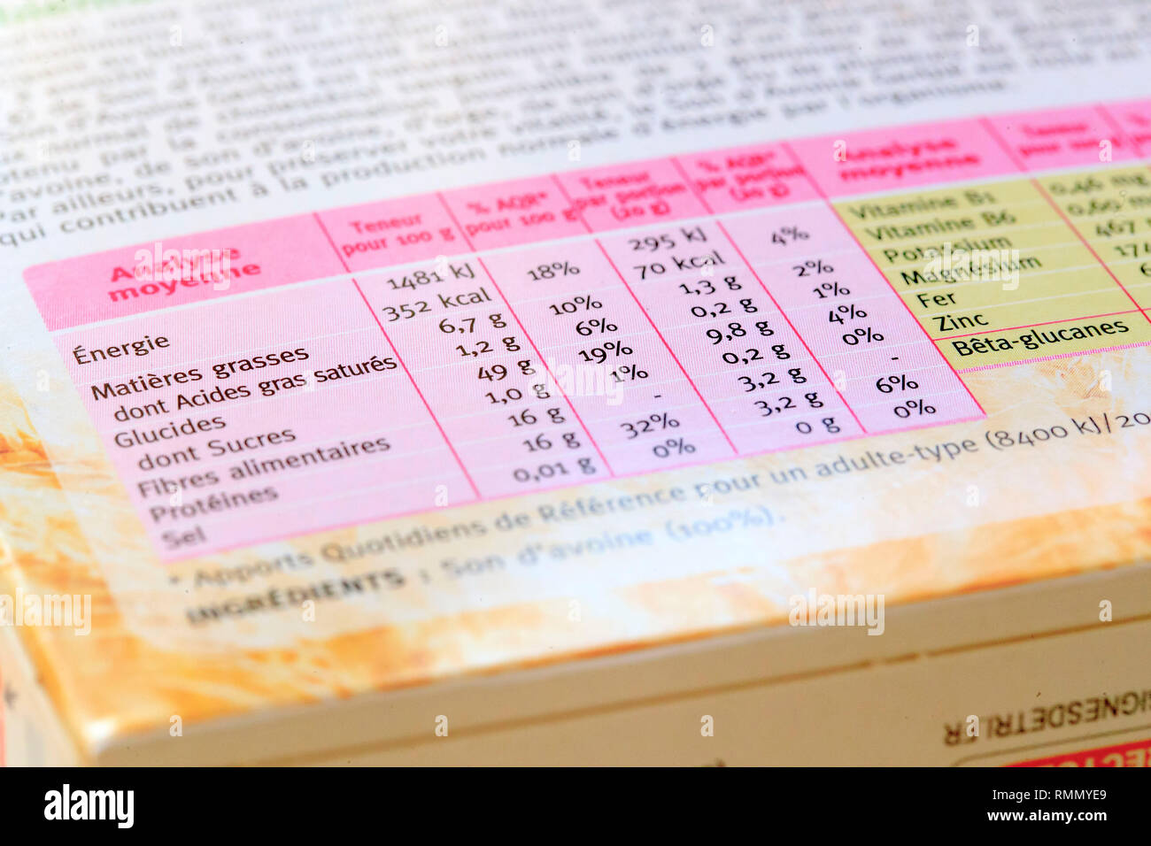 Nutritional values on an oat bran packet. Nutritional labelling - Stock Image