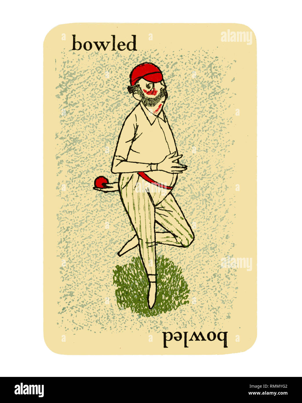 Single card 'BOWLED' from a vintage cricket card game of GOOGLY by Smith & Hallam Ltd of London. Isolated on white background - Stock Image