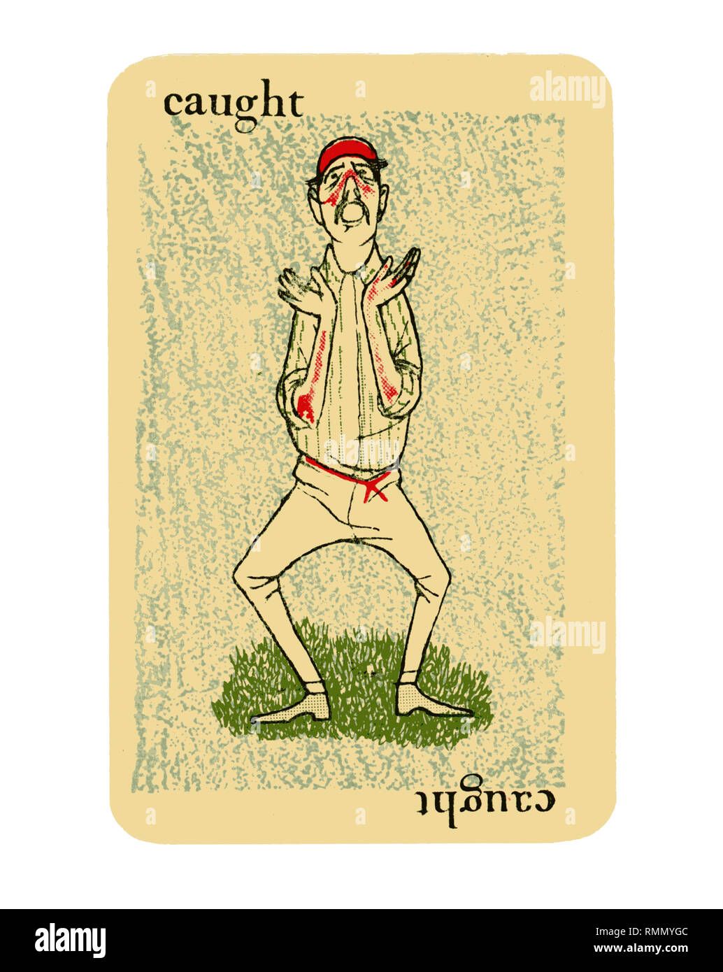 Single card 'CAUGHT' from a vintage cricket card game of GOOGLY by Smith & Hallam Ltd of London. Isolated on white background - Stock Image