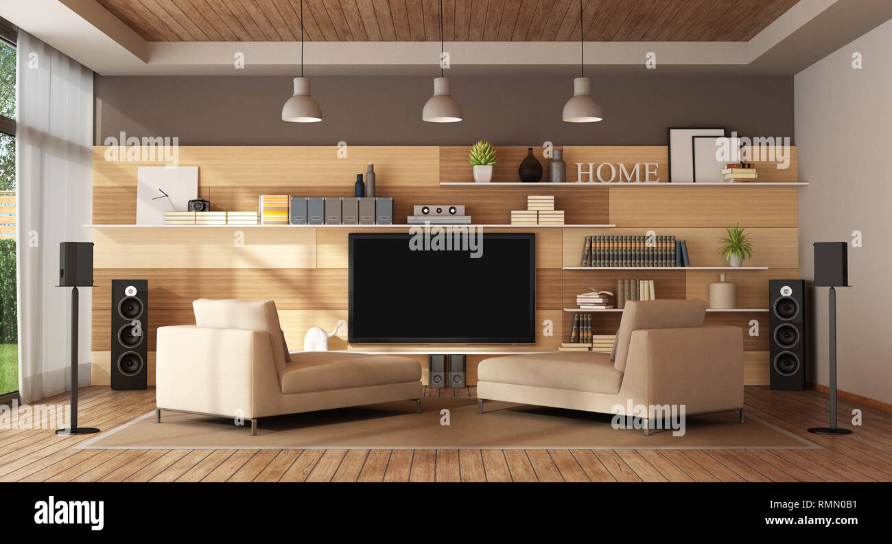 Large living room with home cinema system - 3d rendering ...
