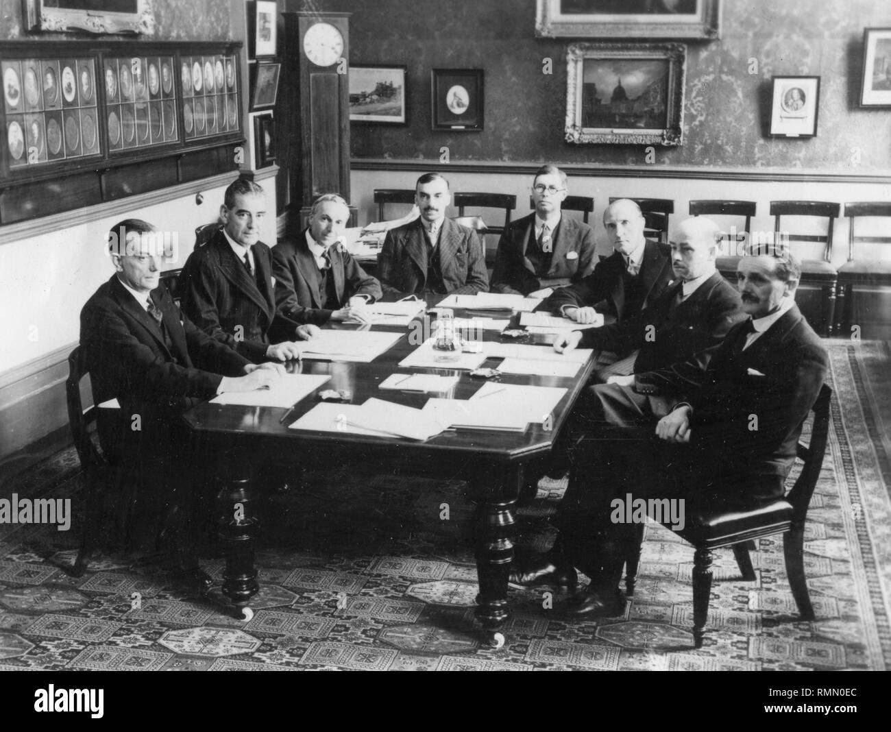 With the 'coming of age' of television as a public service - its 21st anniversary is being celebrated with a dinner at the Dorchester Hotel, London. The members of the Selsdon Committee, which was appointed by the Government in 1934 and was responsible for starting the world's first public television service. (L-R) Sir John Cadman, Lord Selsdon, F.W. Phillips, J. Varley Roberts, O.F. Brown, Sir Charles Carpendale, Noel Ashbridge and Colonel A.s. Angwin. The committee's report was issued as a Whiet Paper in January 1935.  *NEG CORRUPT, SCANNED FROM CONTACT - Stock Image