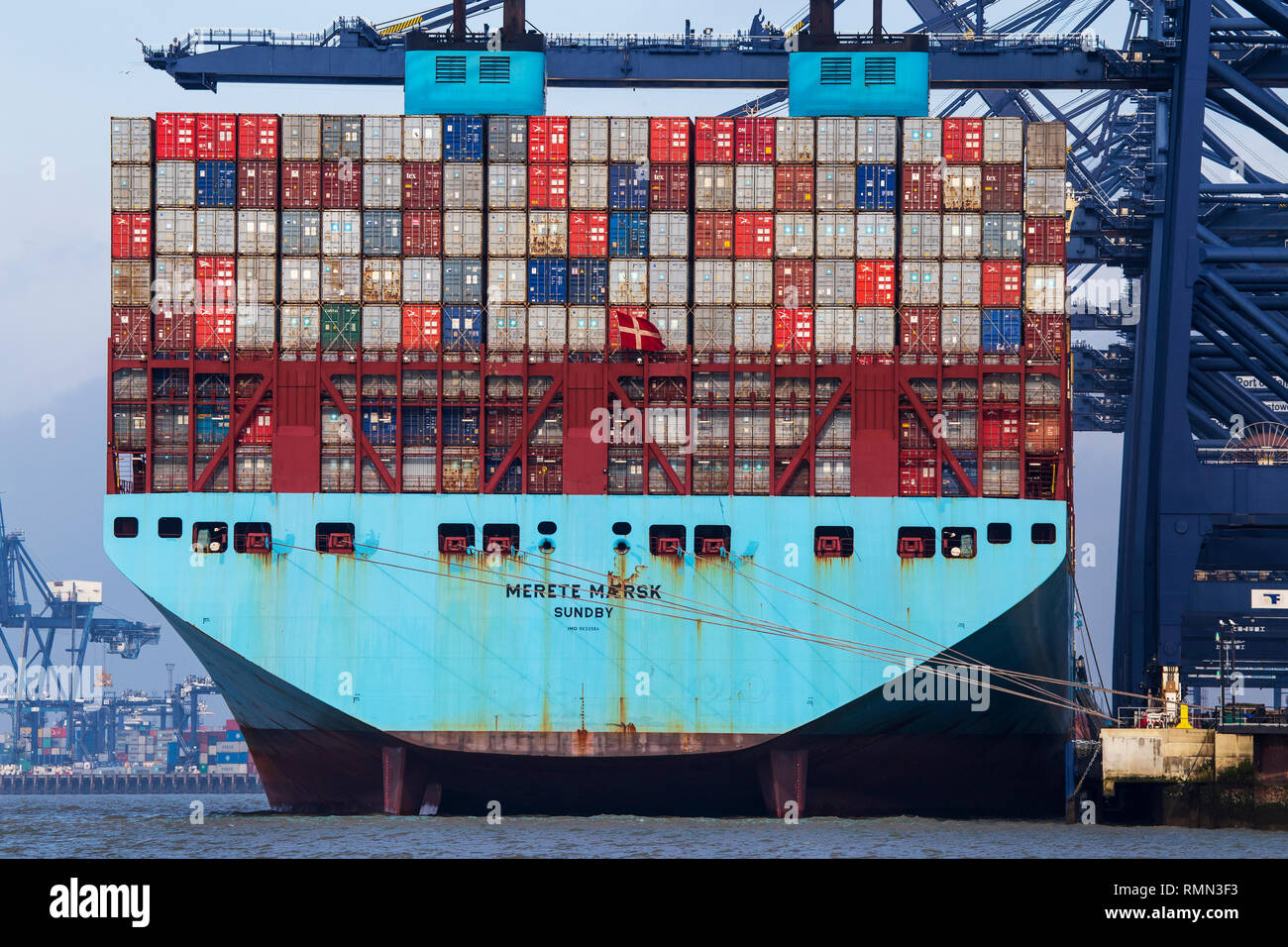 Maersk Shipping Container Ship at Port of Felixstowe Viewed from the Stern - Stock Image