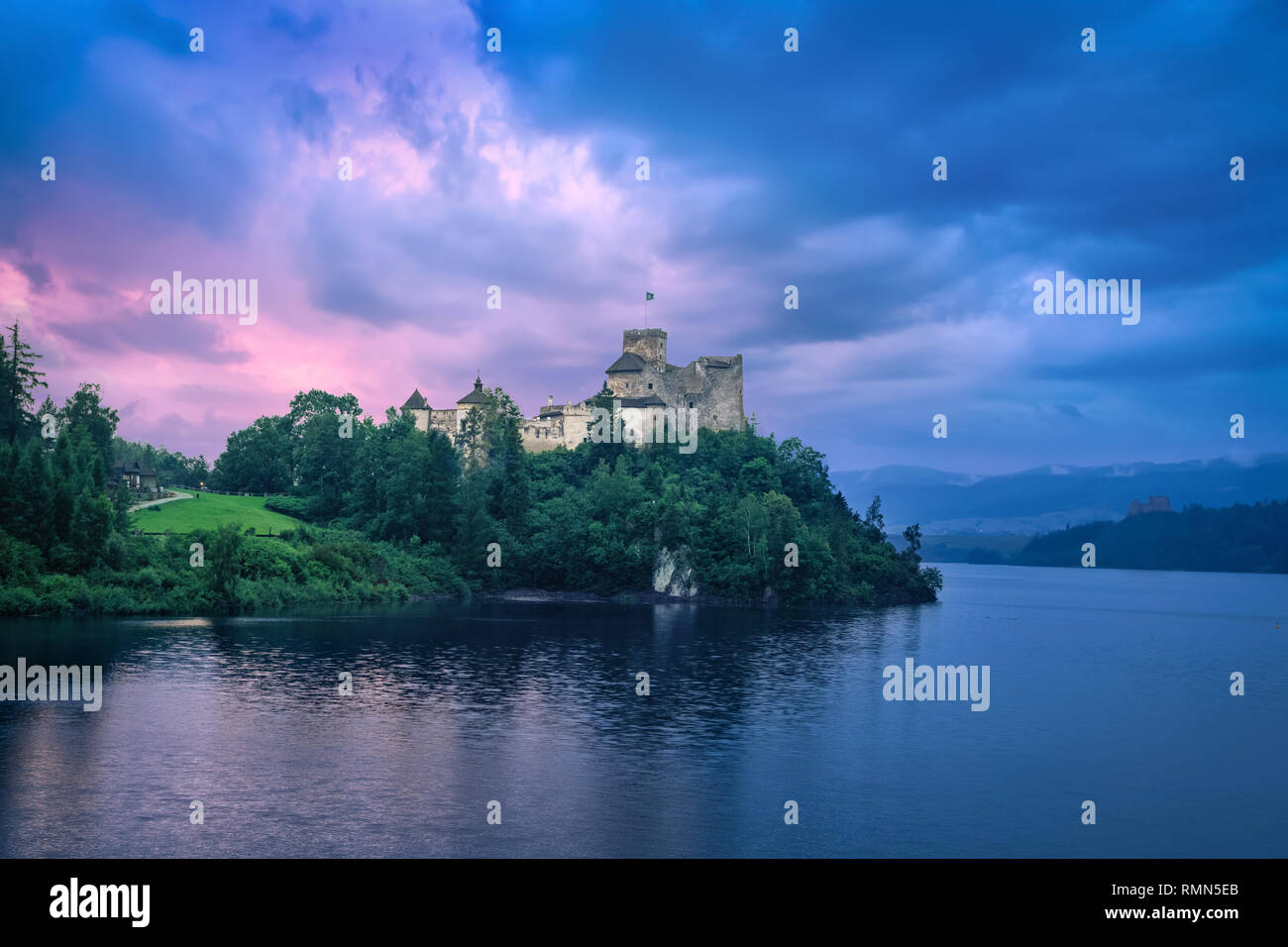 HDR image of Niedzica Castle at sunset in Niedzica, Lesser Poland - Stock Image