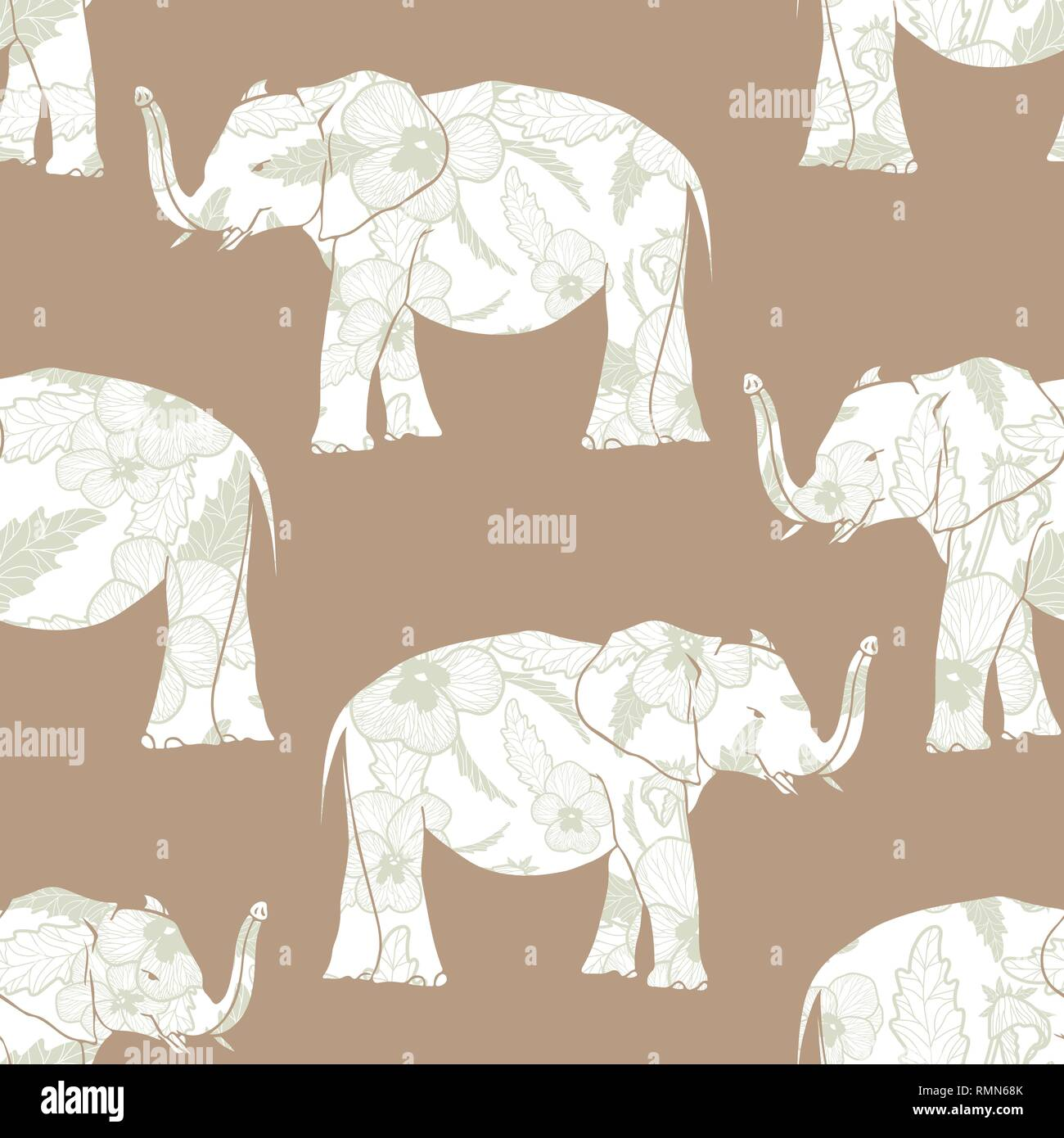Seamless pattern with hand drawn elephant silhouettes vector illustration. Sage flowers on beige background. - Stock Image