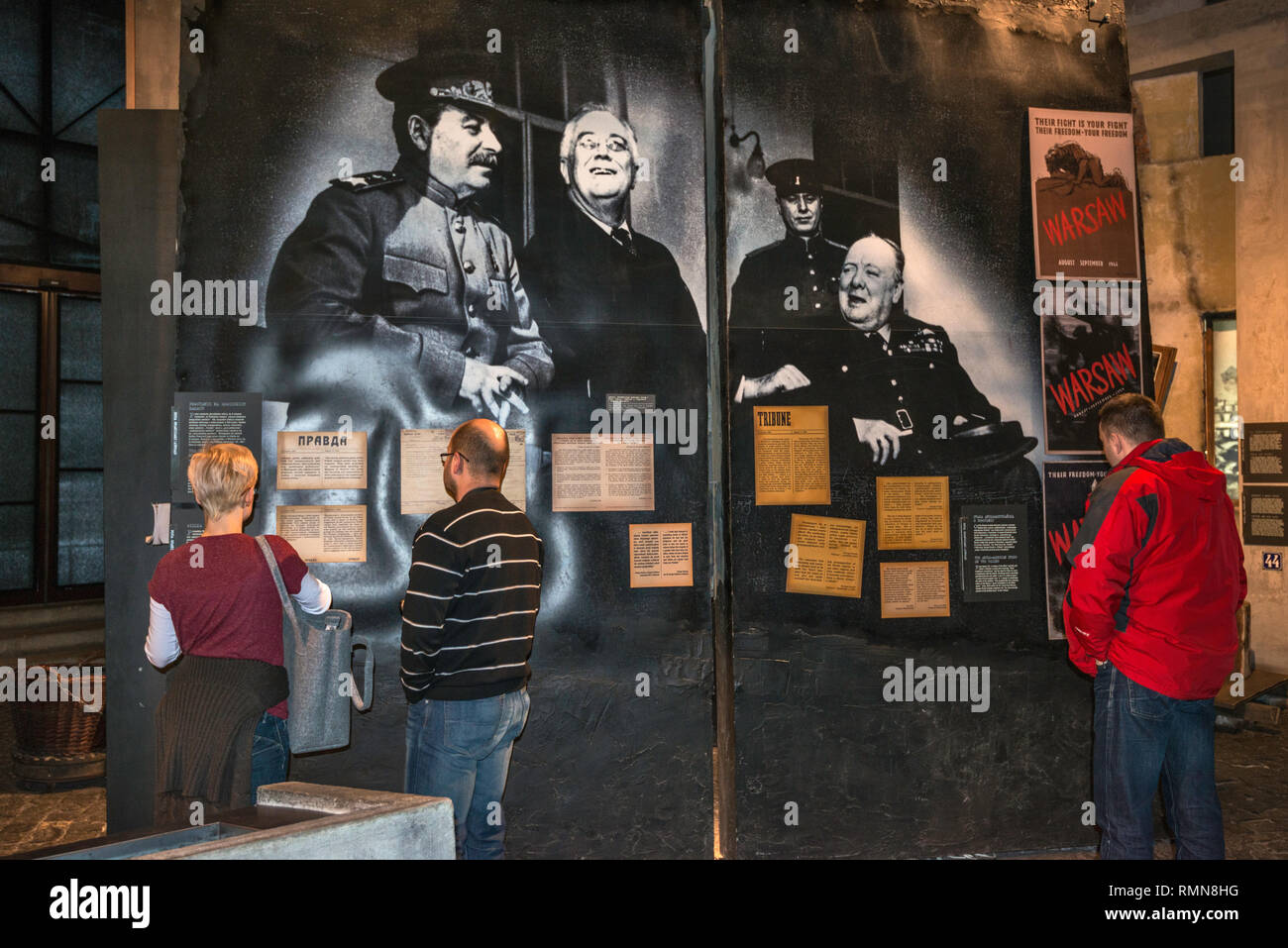 The Big Three leaders at the Tehran Conference (Roosevelt, Churchill and Stalin), photo at Warsaw Uprising Museum in Warsaw, Poland - Stock Image