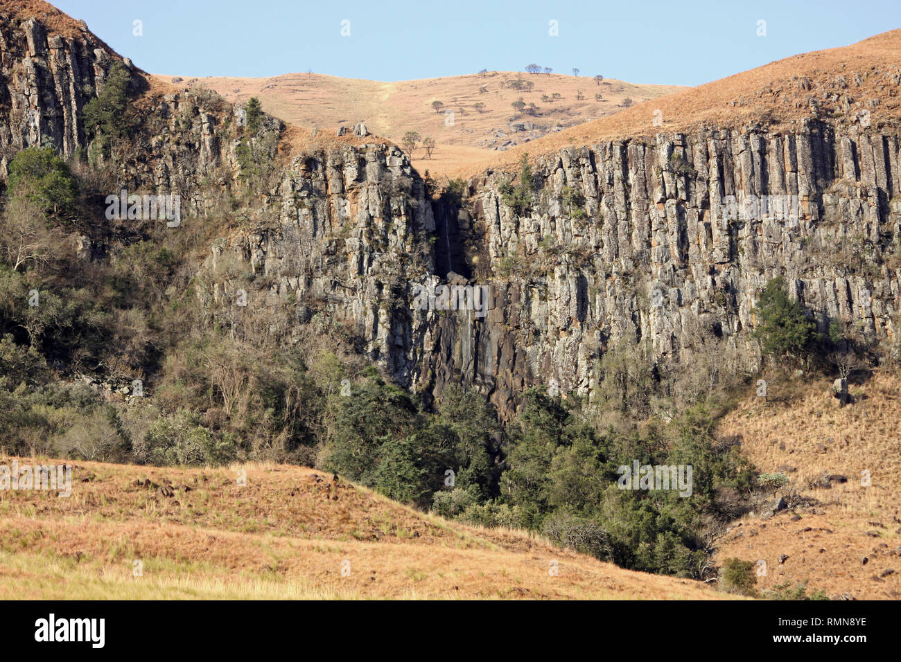 Basalt Columns in Drakensburg Mountains, Kwazulu Natal, South Africa Stock Photo