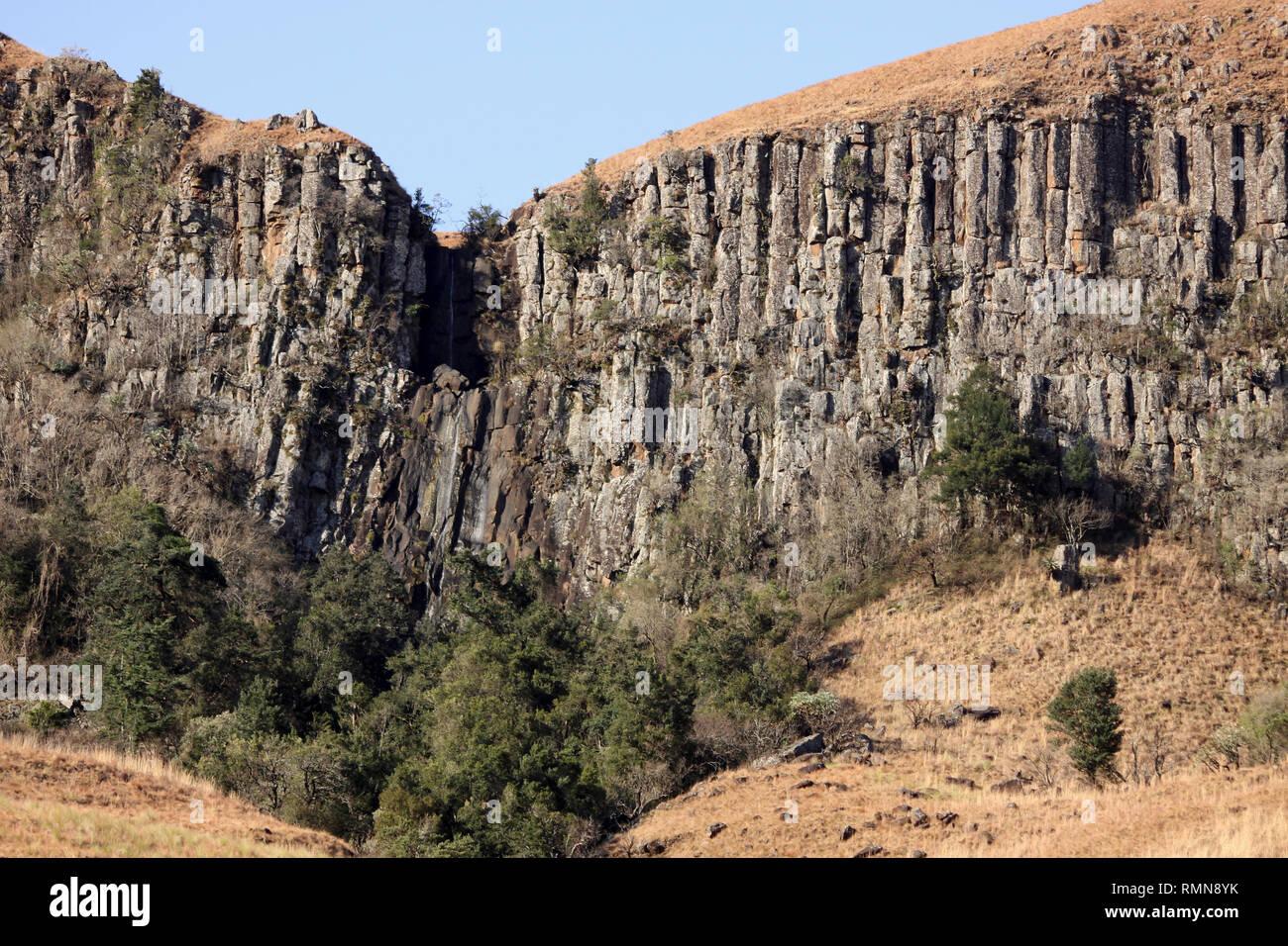 Basalt Columns in Drakensburg Mountains, Kwazulu Natal, South Africa - Stock Image