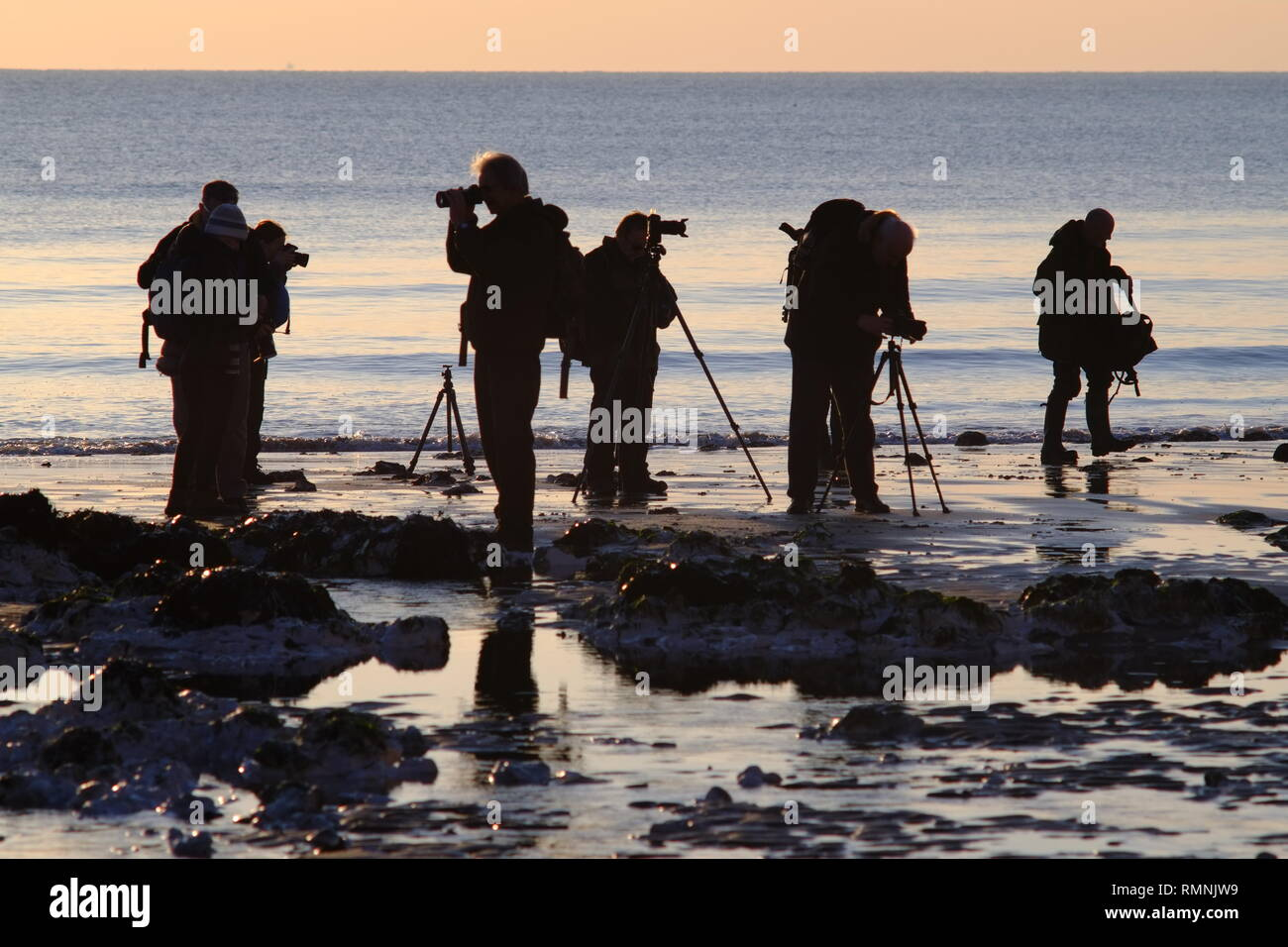 Group of amateur photographers photographing the sunset on a beach. - Stock Image