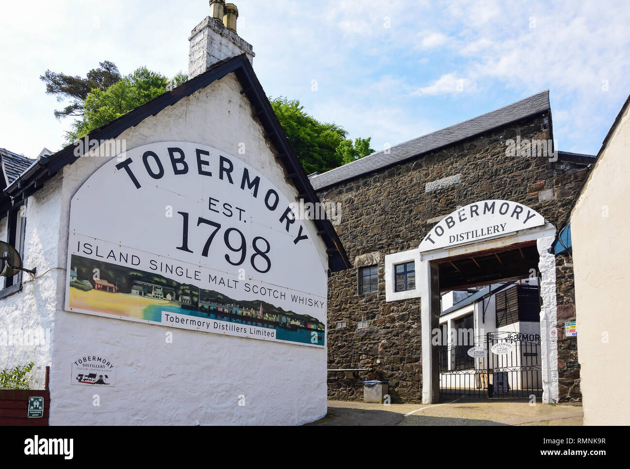 Tobermory Distillery Visitor Centre, Ledaig, Tobermory, Isle of Bute, Inner Hebrides, Argyll and Bute, Scotland, United Kingdom - Stock Image