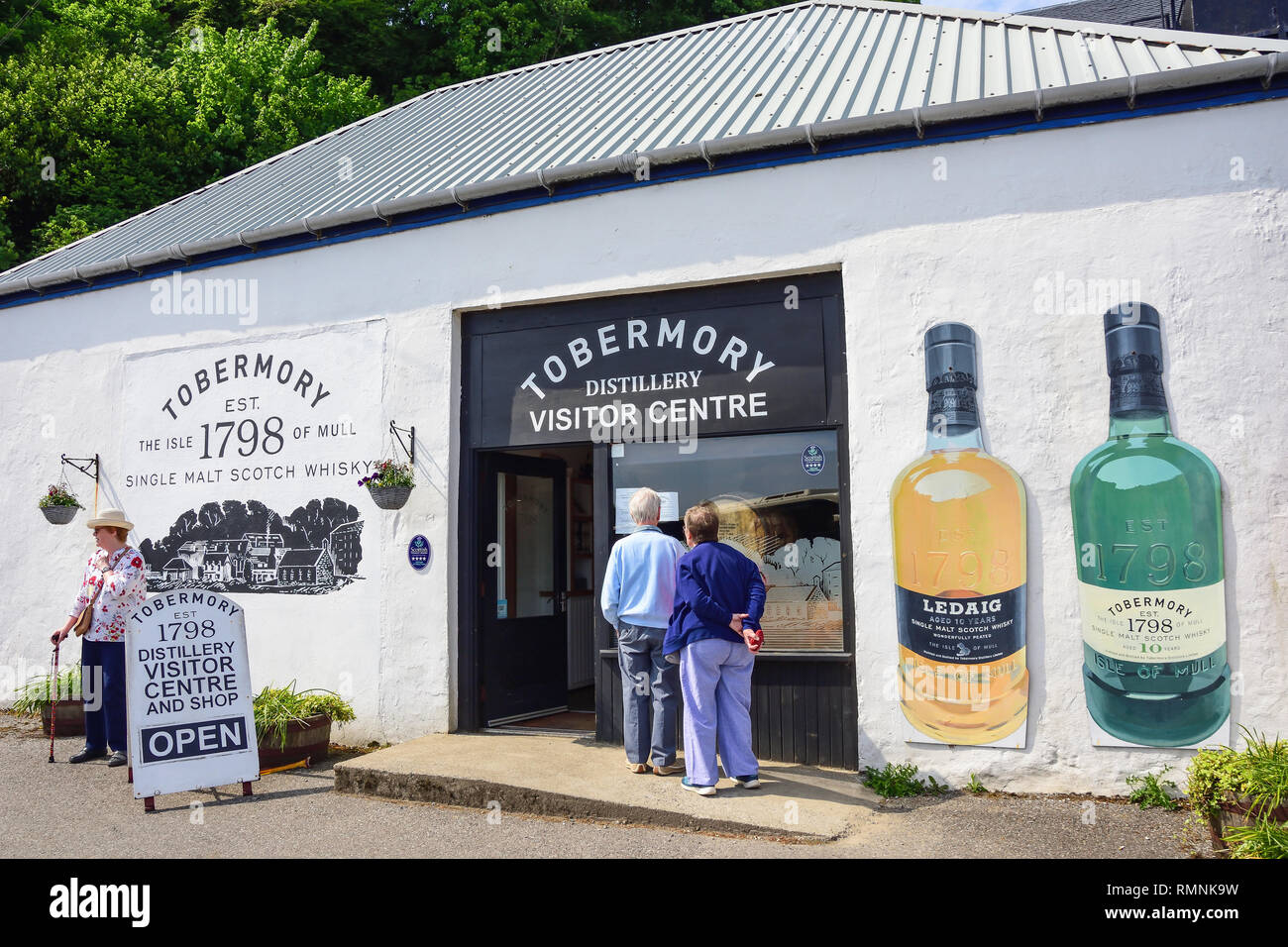 Entrance to Tobermory Distillery Visitor Centre and shop, Ledaig, Tobermory, Isle of Bute, Inner Hebrides, Argyll and Bute, Scotland, United Kingdom - Stock Image