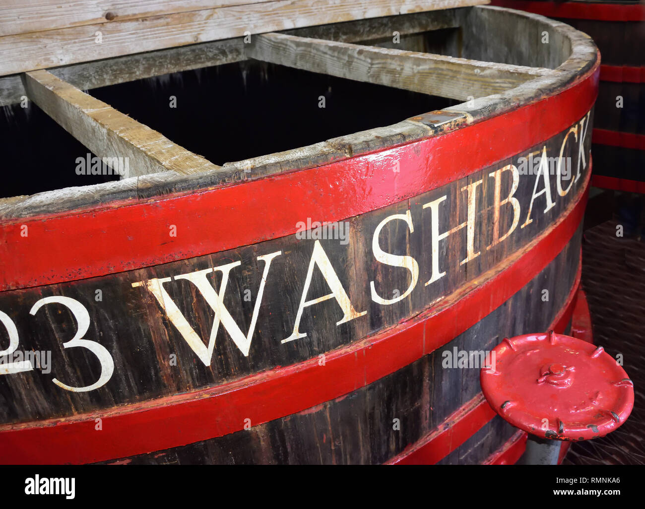 Traditional wooden washback in Tobermory Distillery Visitor Centre, Tobermory, Isle of Bute, Inner Hebrides, Argyll and Bute, Scotland, United Kingdom - Stock Image