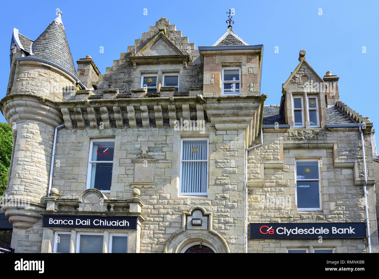 Clydesdale bank, Main Street, Tobermory, Isle of Bute, Inner Hebrides, Argyll and Bute, Scotland, United Kingdom - Stock Image
