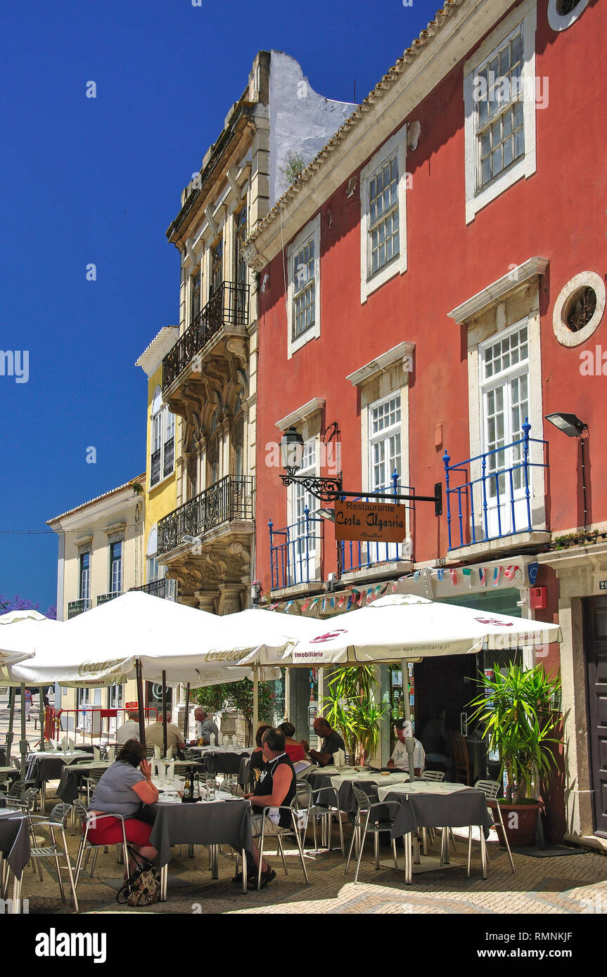 Street cafe, RVA d. Francisco Gomes, Old Town, Faro, Faro District, Algarve Region, Portugal - Stock Image