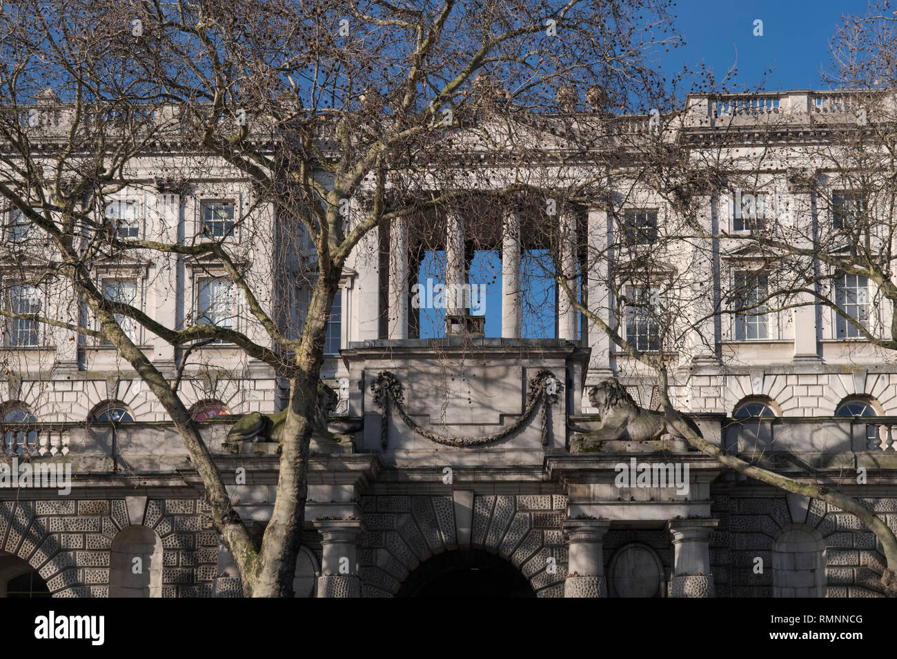 Thames riverfront facade  of Somerset House London England UK - Stock Image