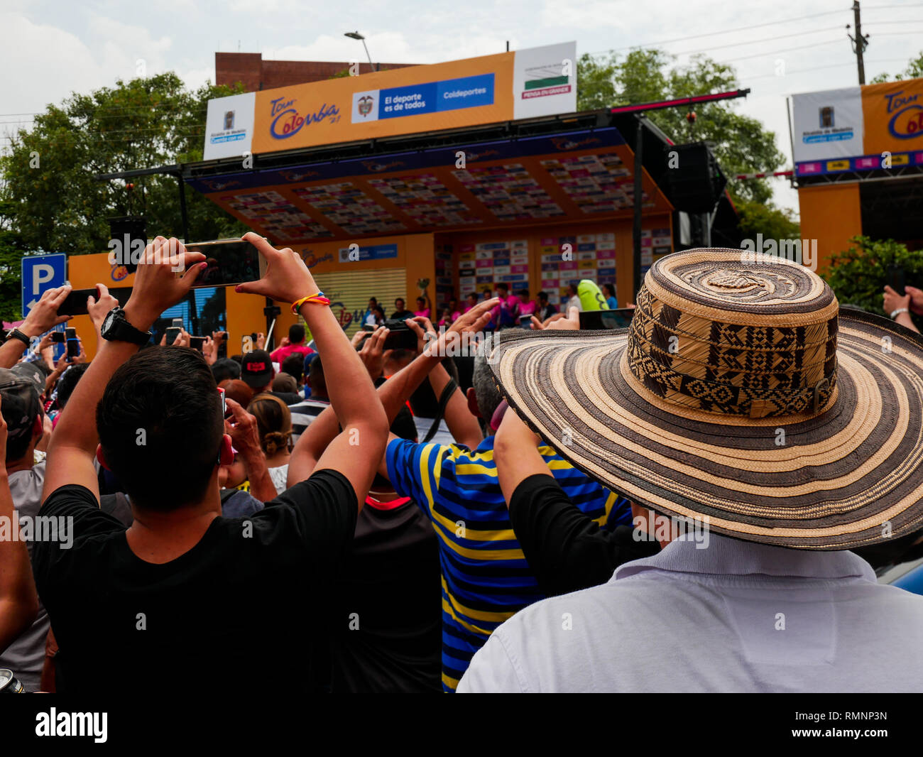 2b48bd2489f Crowd attending the award ceremony after the first stage of the tour  Colombia 2019 in medellin