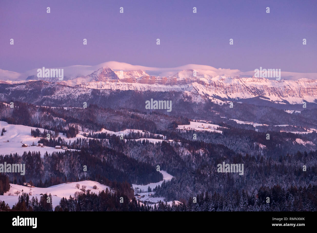 winter sunset in the Bernese Alps - Stock Image