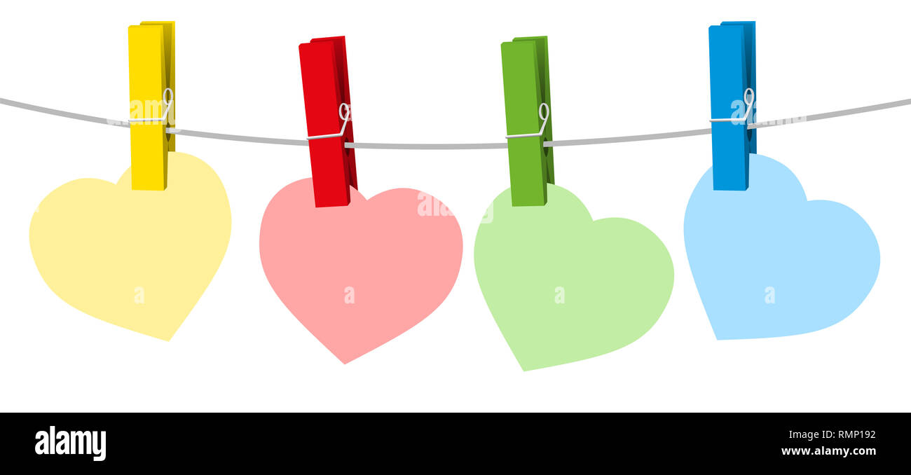 Four colored paper hearts and clothes pins on a clothes line rope - illustration on white background. - Stock Image