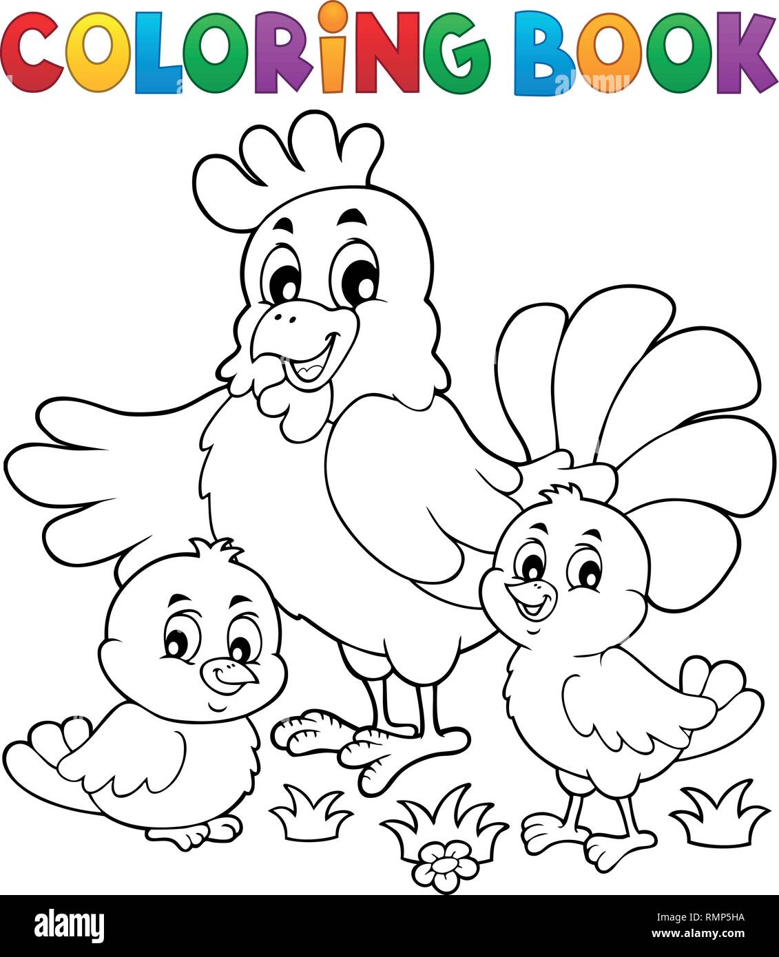 Coloring book chickens and hen theme 1 - eps10 vector ...